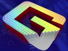Буква с открытыми RGB светодиодами